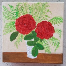 Di Joyner Flowers in Vase  Stretched Canvas