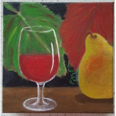 Di Joyner Wine Glass and Fruit Stretched Canvas