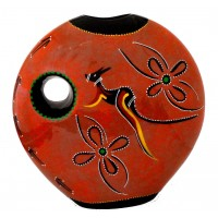 Moon Vase kangaroo journey  painted by Koruna (Suzi Gaughan)